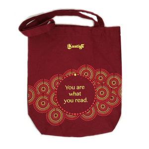 You are what you read maroon Kantiga tote bag
